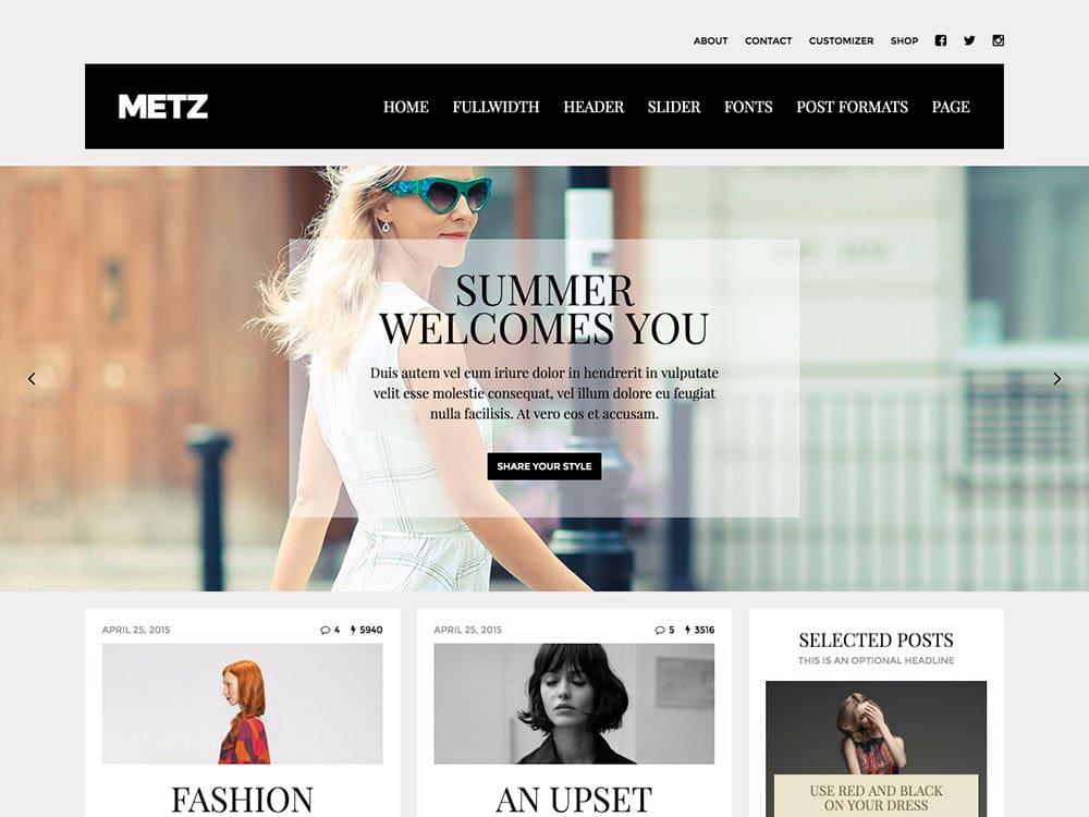 Metz - 36+ Nice WordPress Themes For Fashion Blog [year]