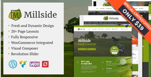 Millside - 36+ Nice WordPress Golf Themes For Golf Clubs Websites [year]