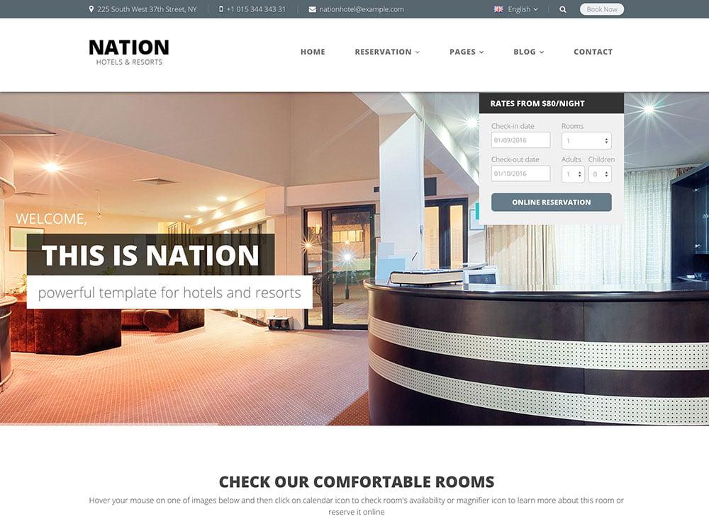 Nation-Hotel - 36+ Amazing Travel, Agencies, Hotels WordPress Themes [year]