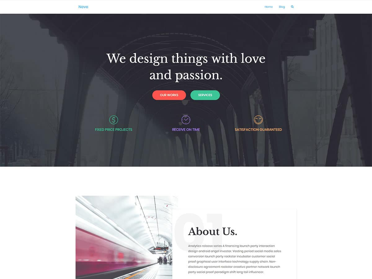 Neve-3 - 46+ Best Free WordPress One Page Themes [year]