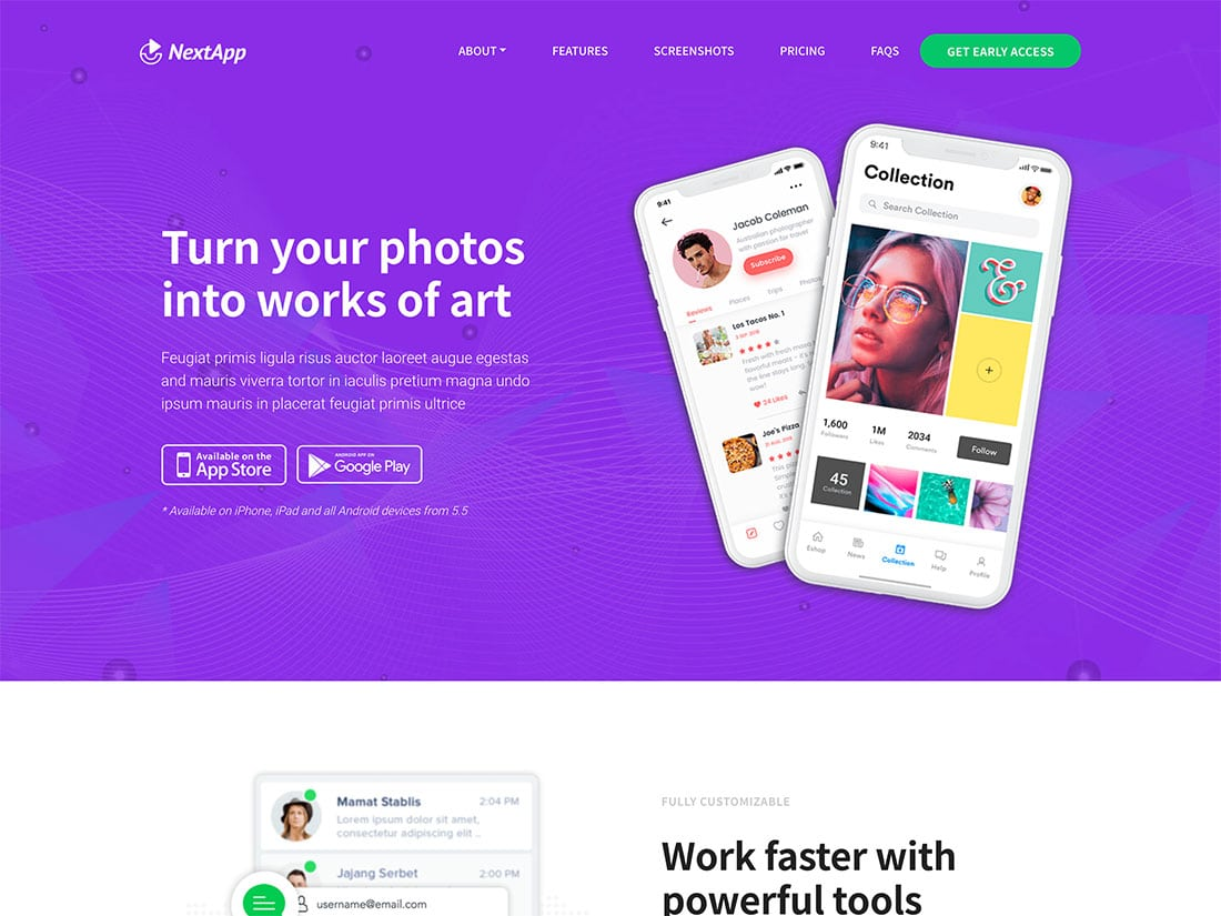 NextApp - 40+ Amazing WordPress App Showcase Themes [year]