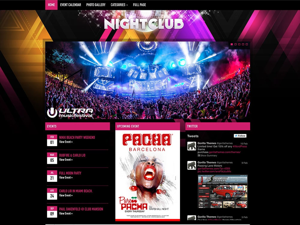 Nightclub - 40+ Awesome WordPress Themes For Music [year]