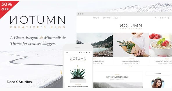 Notumn - 36+ Awesome Minimalist WordPress Themes [year]