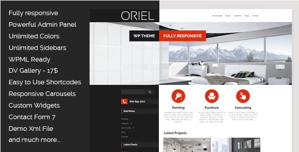 ORIEL - 30+ Top Quality WordPress Themes For Interior Design [year]