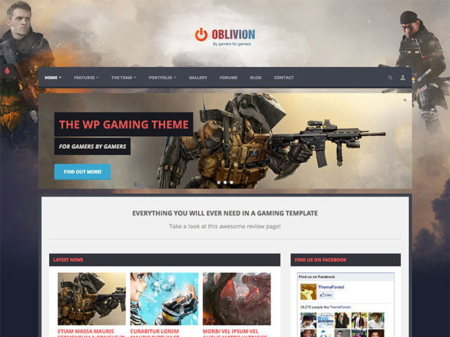 Oblivion-1 - 36+ Top Quality WordPress Gaming Themes [year]