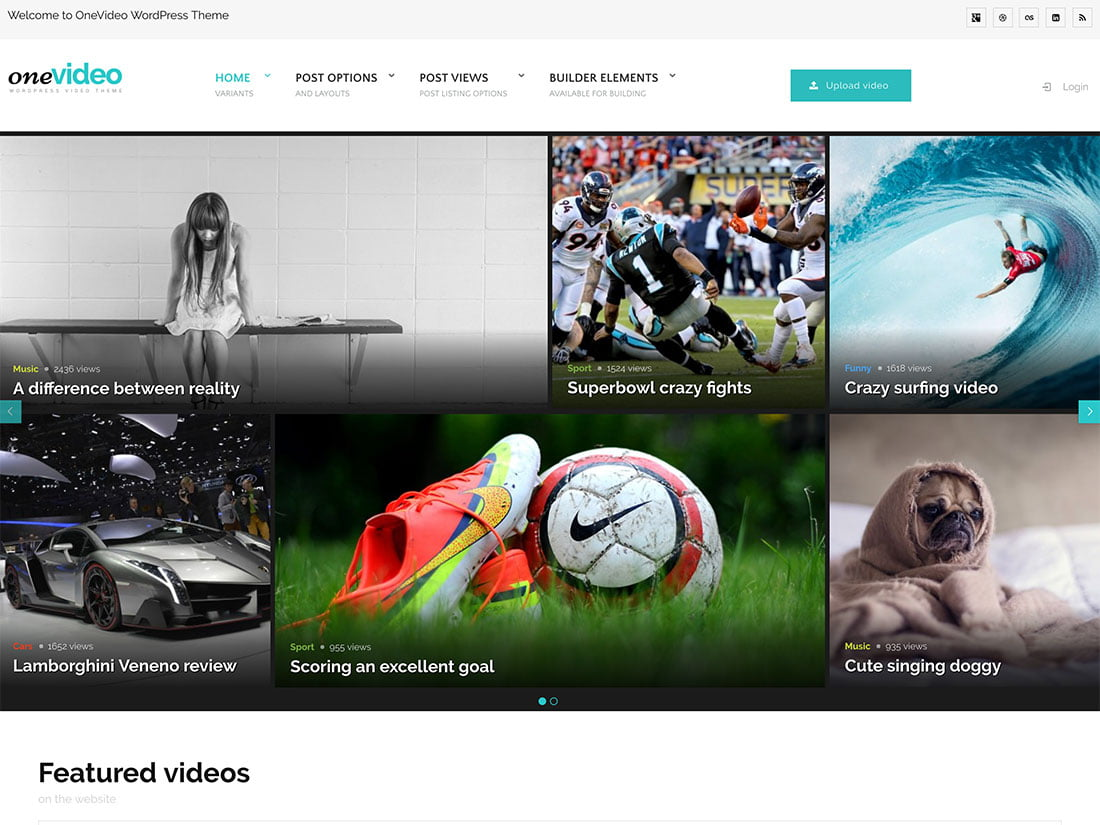 OneVideo - 36+ Awesome WordPress Content Sharing Themes [year]