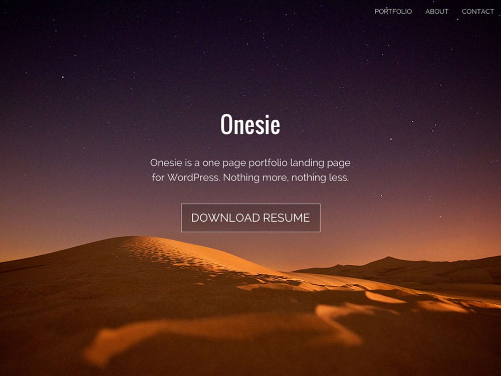 Onesie-1 - 46+ Best Free WordPress One Page Themes [year]