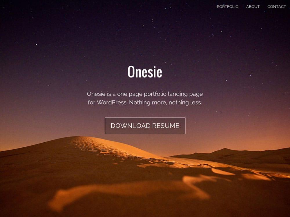 Onesie - 46+ Nice Free WordPress Portfolio Themes [year]