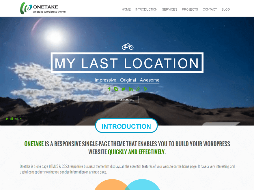Onetake - 46+ Best Free WordPress One Page Themes [year]