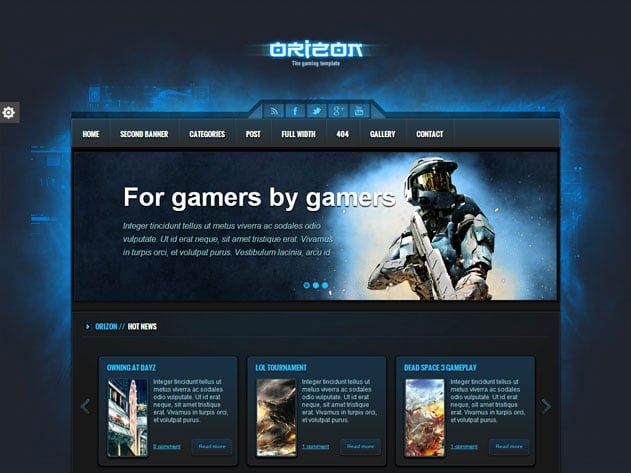 Orizon-1 - 36+ Top Quality WordPress Gaming Themes [year]