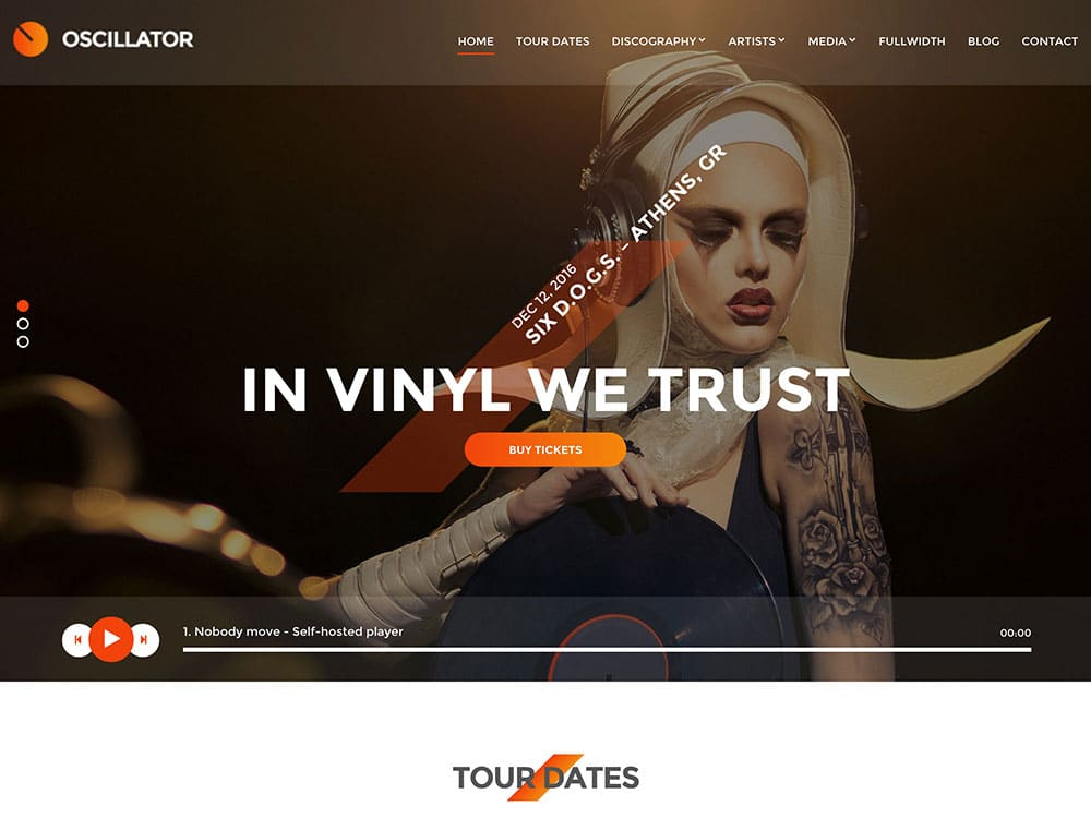 Oscillator - 40+ Awesome WordPress Themes For Music [year]