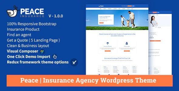 Peace - 36+ Amazing WordPress Insurance Themes [year]