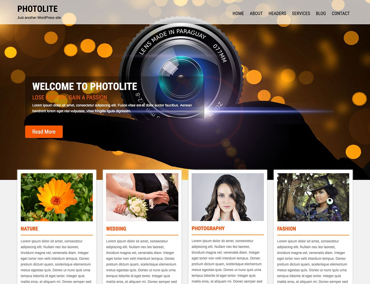 Photolite - 51+ Nice Free WordPress Themes For Photography [year]