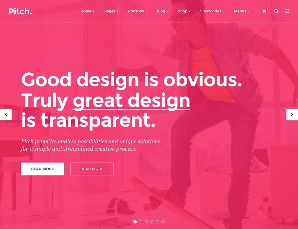 Pitch - 40+ Awesome WordPress Themes For Creative Agency [year]
