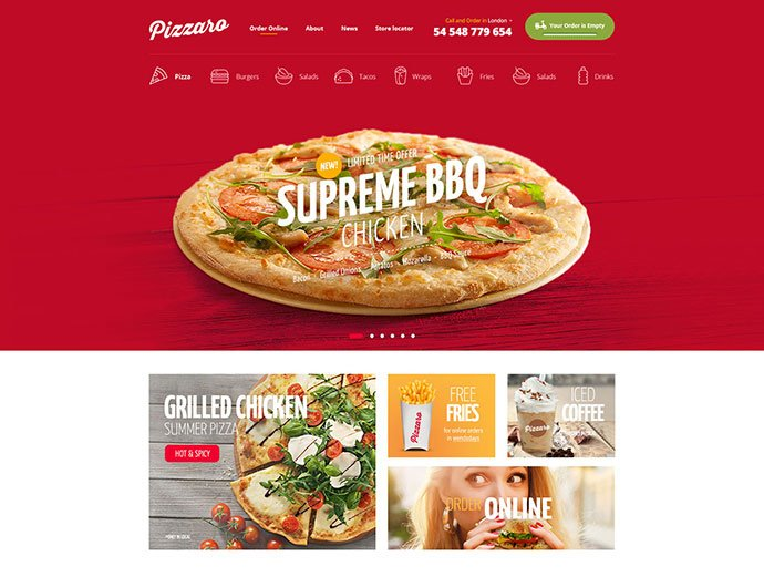 Pizzaro - 31+ Nice Food & Drink E-commerce WordPress Themes [year]