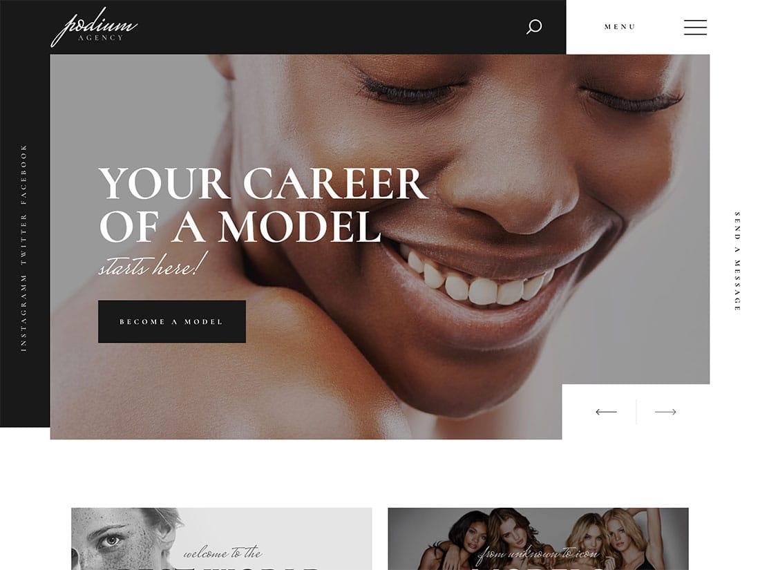 Podium - 36+ Nice WordPress Model Agency Themes [year]