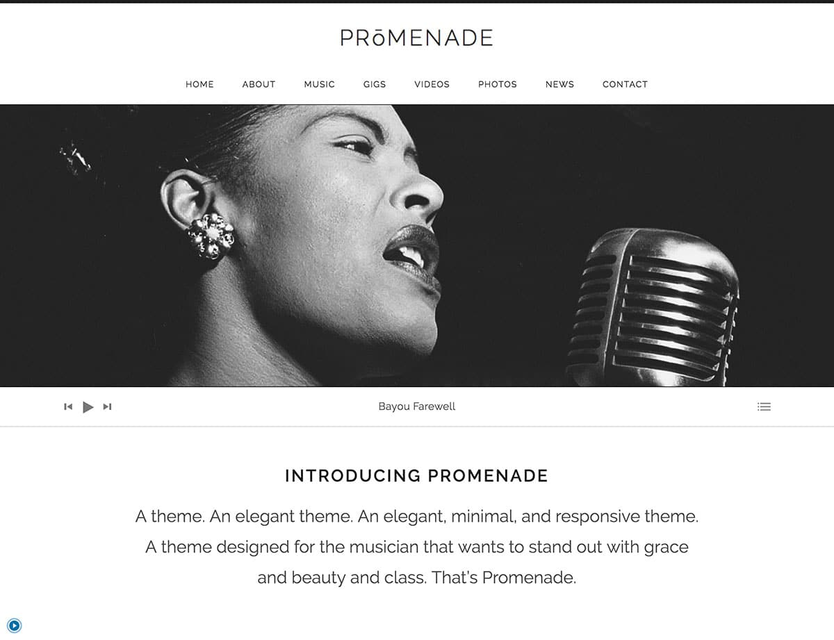 Promenade - 40+ Awesome WordPress Themes For Music [year]