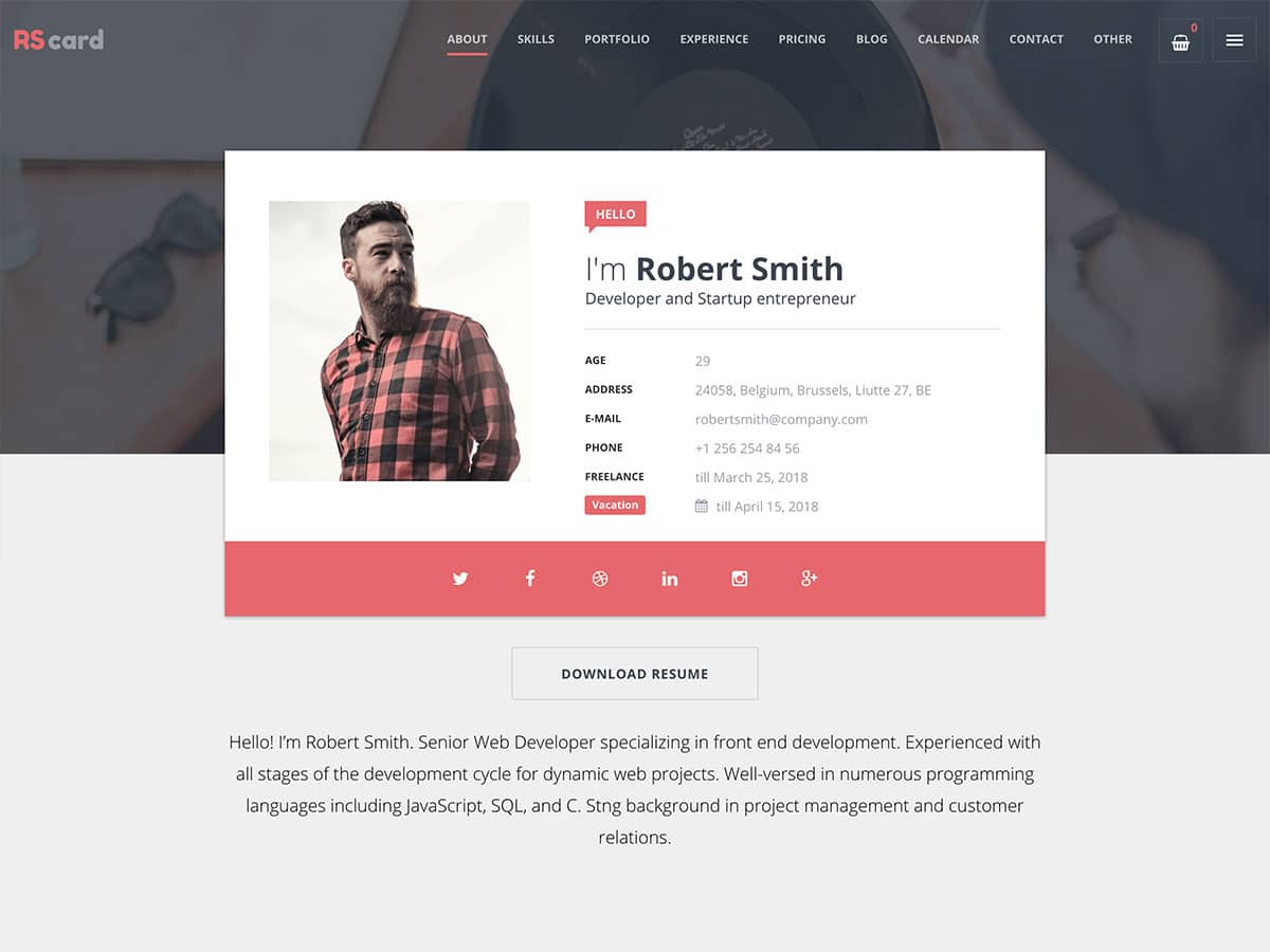 RSCard - 31+ Nice WordPress Themes For Resume [year]