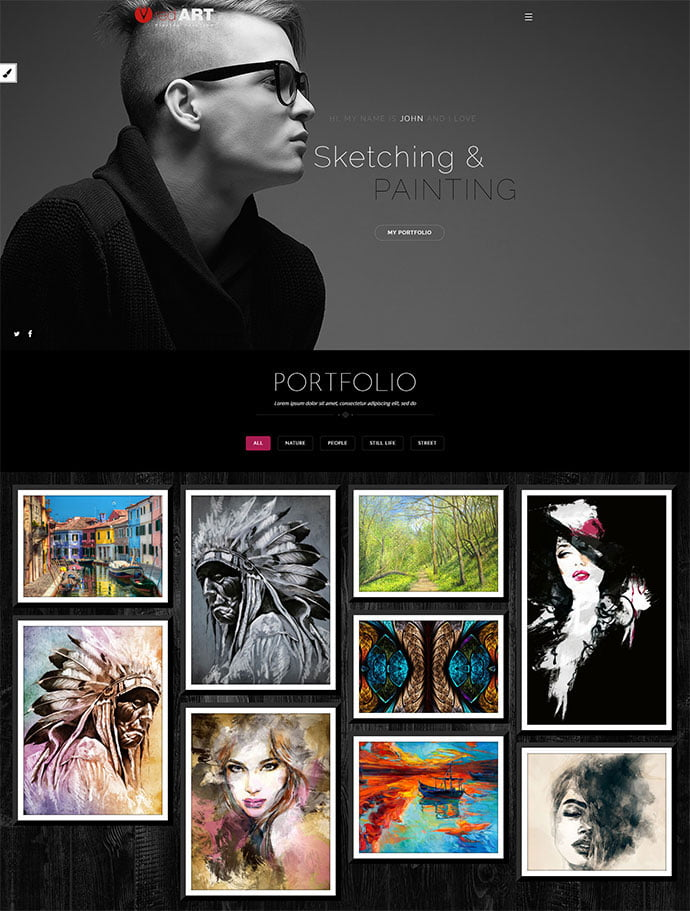 Red-Art-Photography - 31+ Nice WordPress Themes For Dark Photography Portfolio [year]