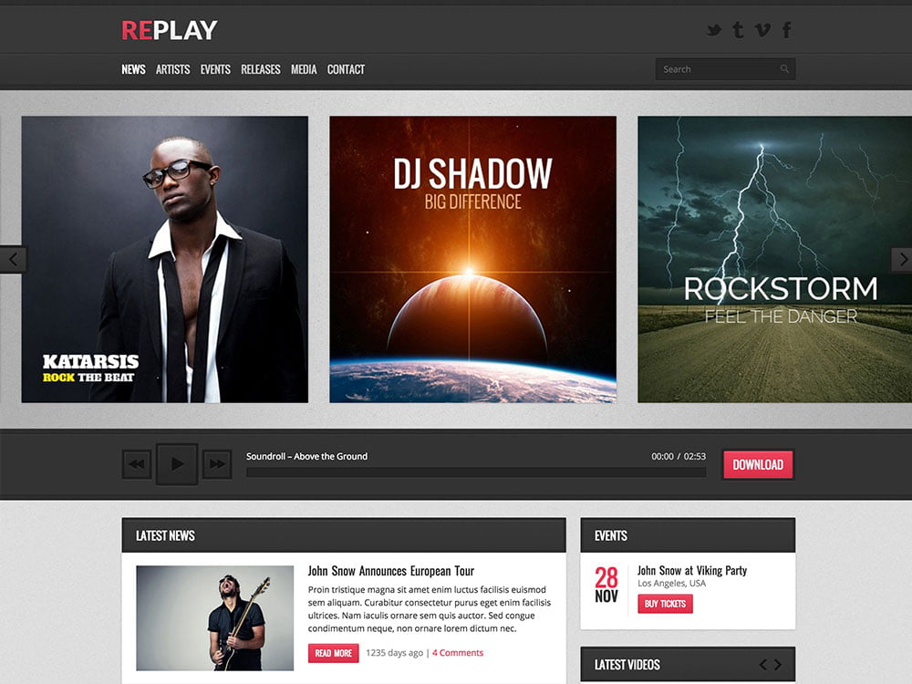 Replay - 40+ Awesome WordPress Themes For Music [year]
