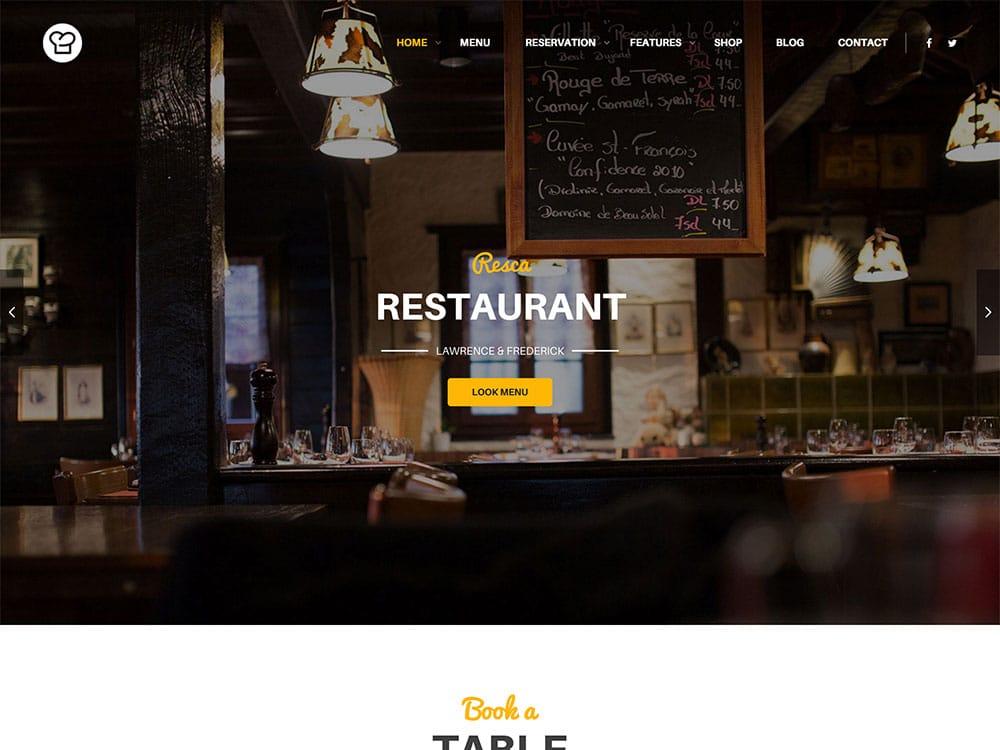 Resca - 50+ Nice WordPress Themes For Restaurant [year]