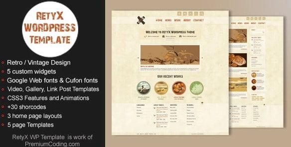 RetyX - 36+ Best Quality Retro WordPress Themes [year]