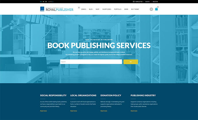 Royal - 31+ Nice Librarian & Bookseller WordPress Themes [year]