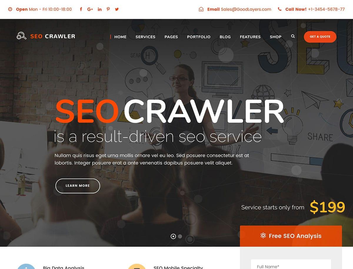 SEO-Crawler - 36+ Awesome WordPress Marketing Themes [year]
