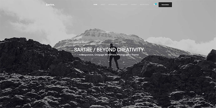 Sartre - 31+ Nice WordPress Themes For Dark Photography Portfolio [year]