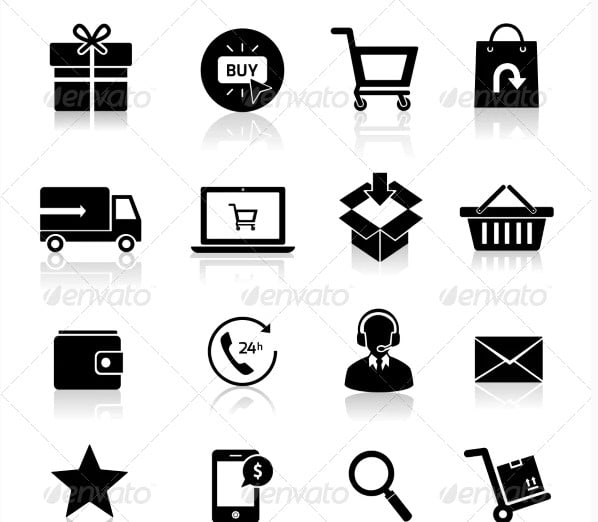 Shopping-E - 35+ Awesome Free E-Commerce Icon Sets [year]