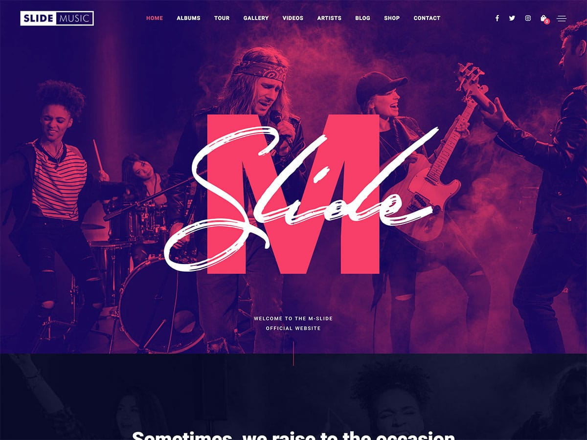 Slide - 40+ Awesome WordPress Themes For Music [year]