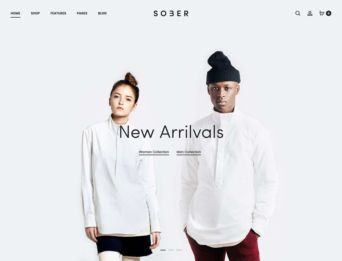 Sober - 41+ Top WordPress Themes For Woocommerce [year]
