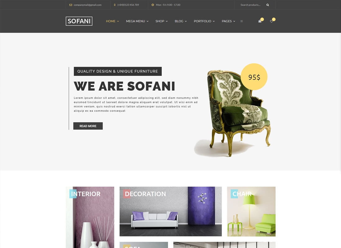 Sofani - 36+ Top Quality WordPress Themes For Interior Design [year]
