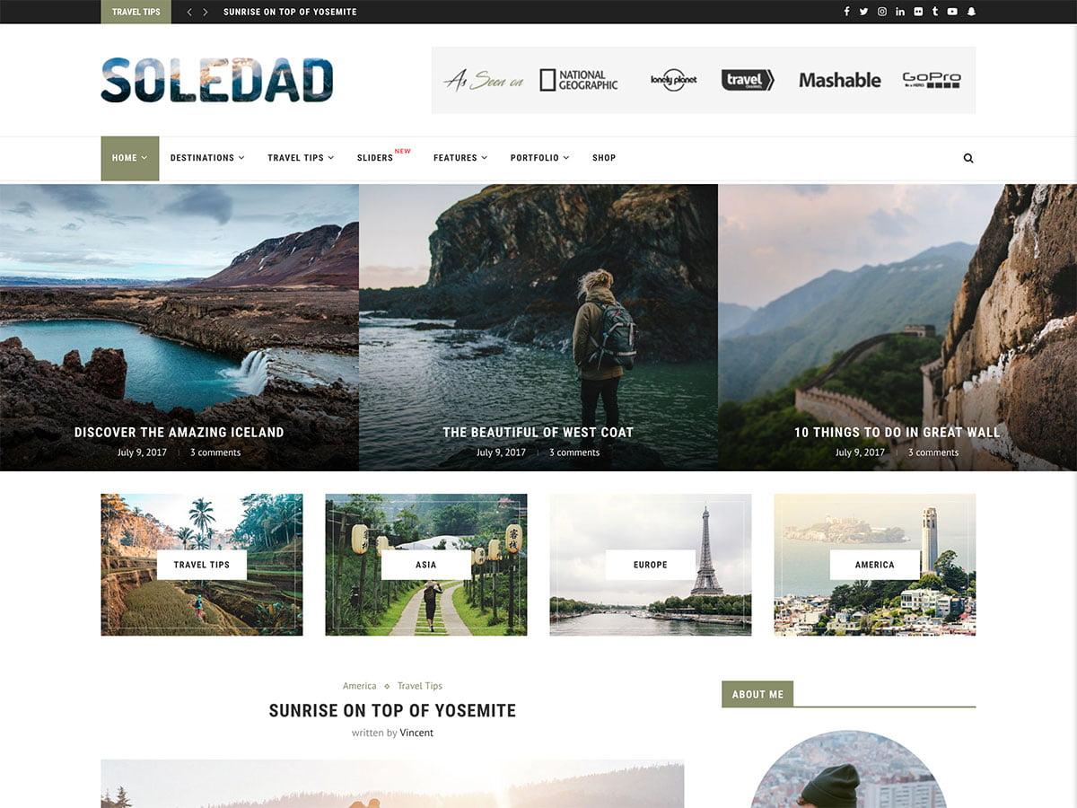 Soledad - 30+ Awesome Travel Blog WordPress Themes [year]