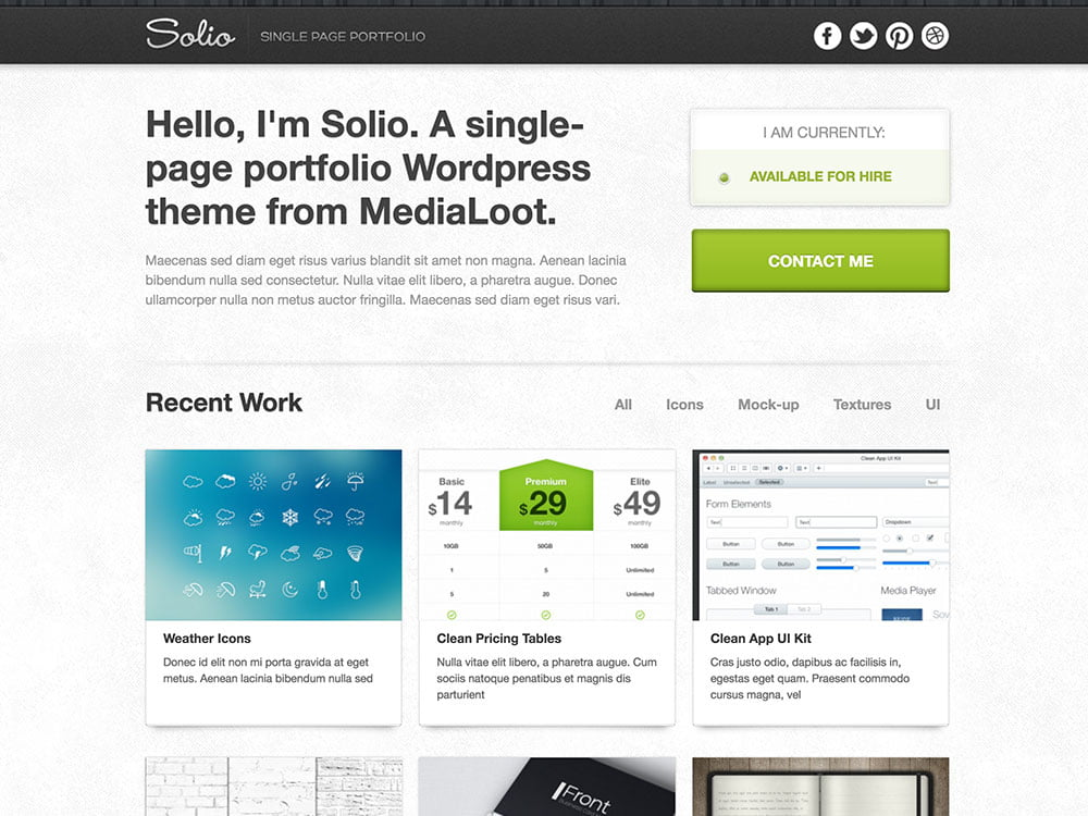Solio - 46+ Best Free WordPress One Page Themes [year]