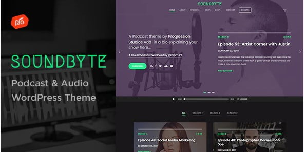 Soundbyte - 36+ Awesome WordPress Themes For Podcast [year]