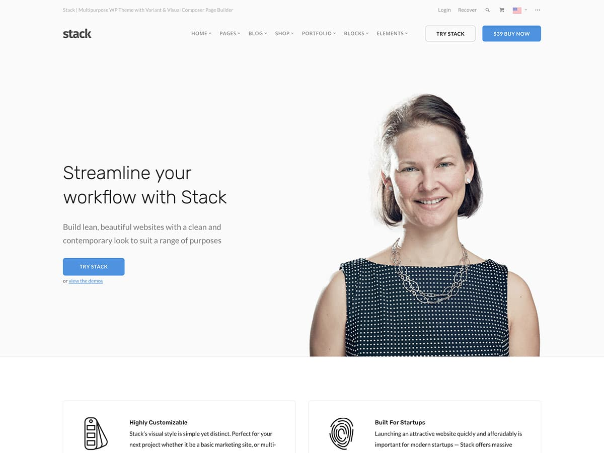 Stack - 36+ Top Quality WordPress Themes For Business [year]