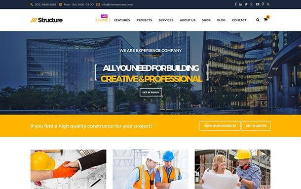 Structure - 36+ Top Quality WordPress Themes For Construction Company [year]