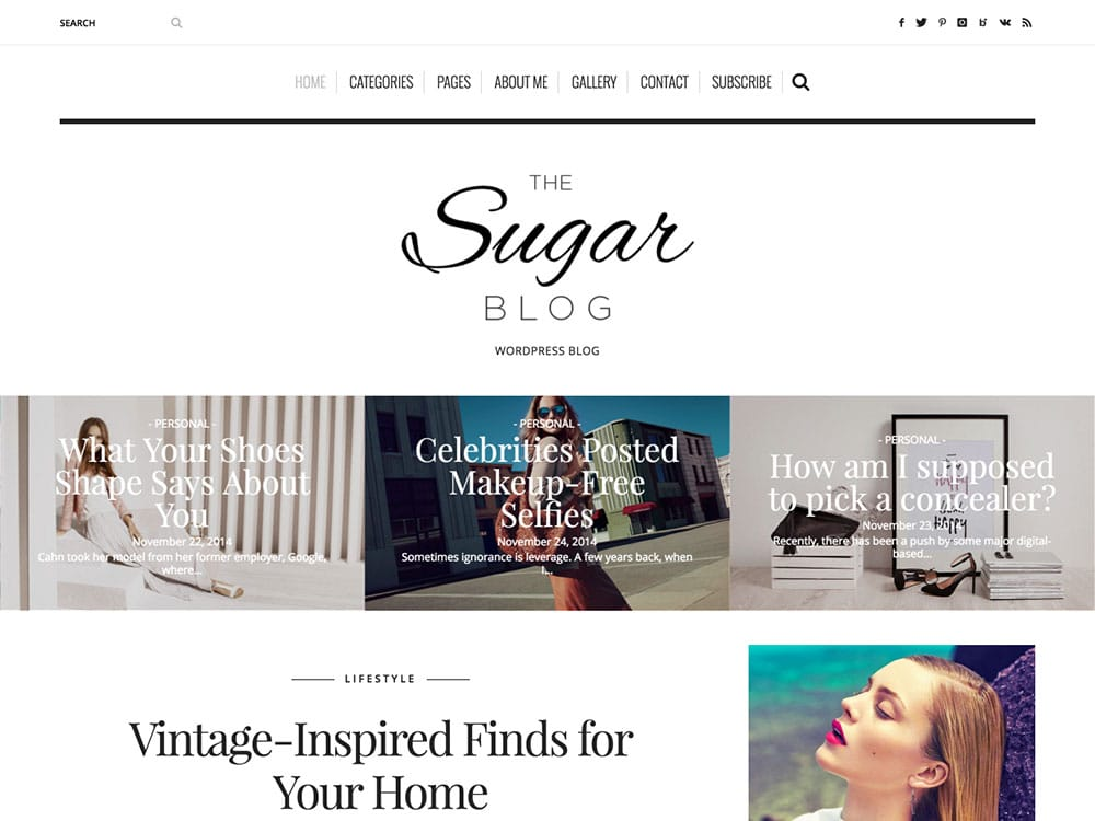 SugarBlog - 36+ Nice WordPress Themes For Fashion Blog [year]