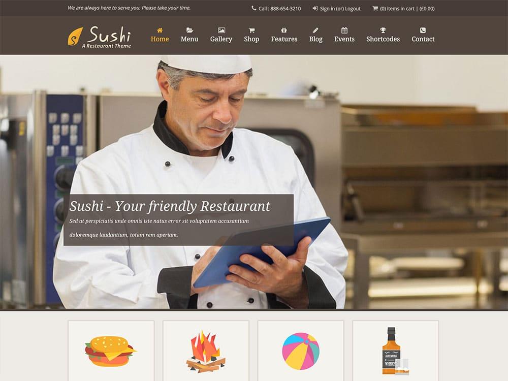 Sushi - 50+ Nice WordPress Themes For Restaurant [year]