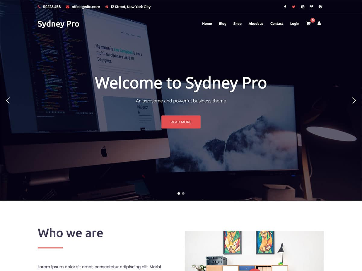 Sydney-Pro - 60+ Nice WordPress Themes For Business [year]