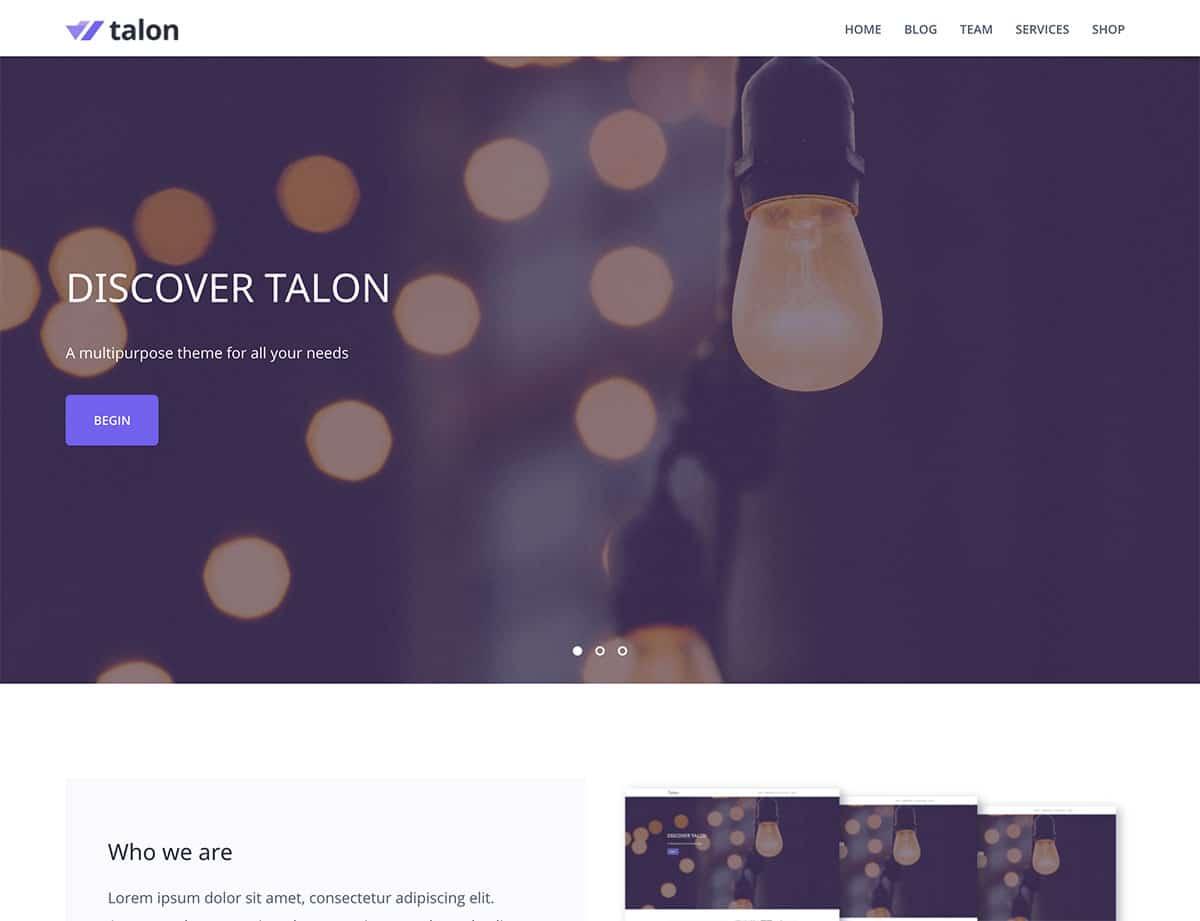 Talon-1 - 46+ Best Free WordPress One Page Themes [year]