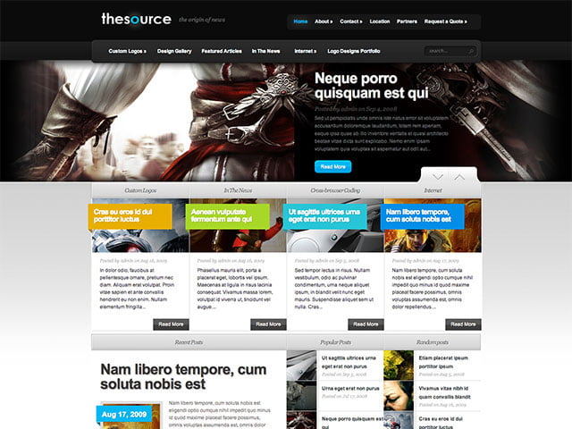 TheSource-1 - 36+ Top Quality WordPress Gaming Themes [year]