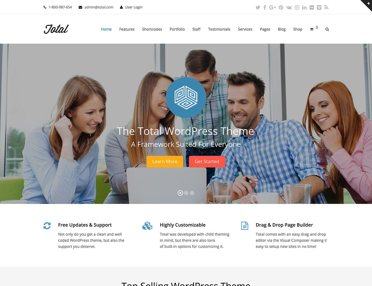 Total-2 - 60+ Nice WordPress Themes For Business [year]