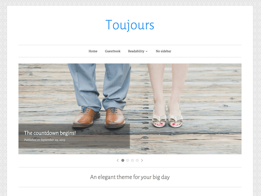 Toujours - 36+ Elegant Free WordPress Wedding Themes [year]