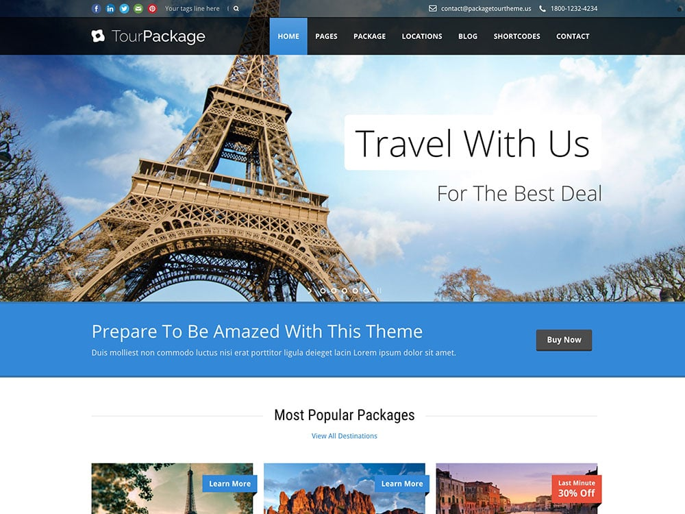Tour-Package - 36+ Amazing Travel, Agencies, Hotels WordPress Themes [year]