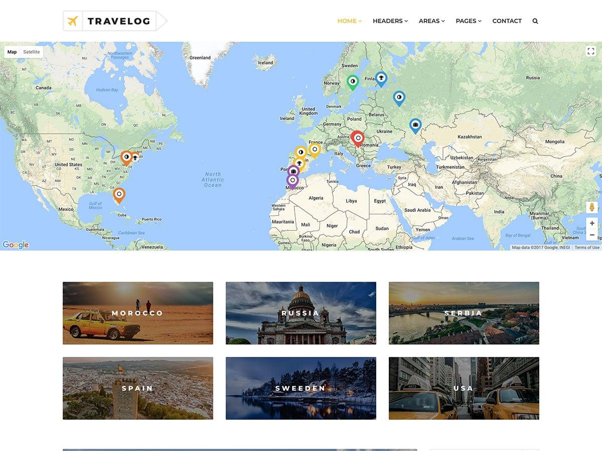 Travelog - 30+ Awesome Travel Blog WordPress Themes [year]