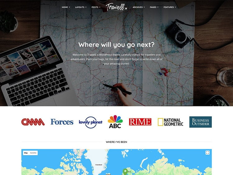 Trawell - 30+ Awesome Travel Blog WordPress Themes [year]