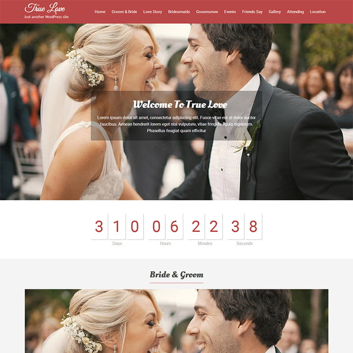Truelove - 36+ Elegant Free WordPress Wedding Themes [year]