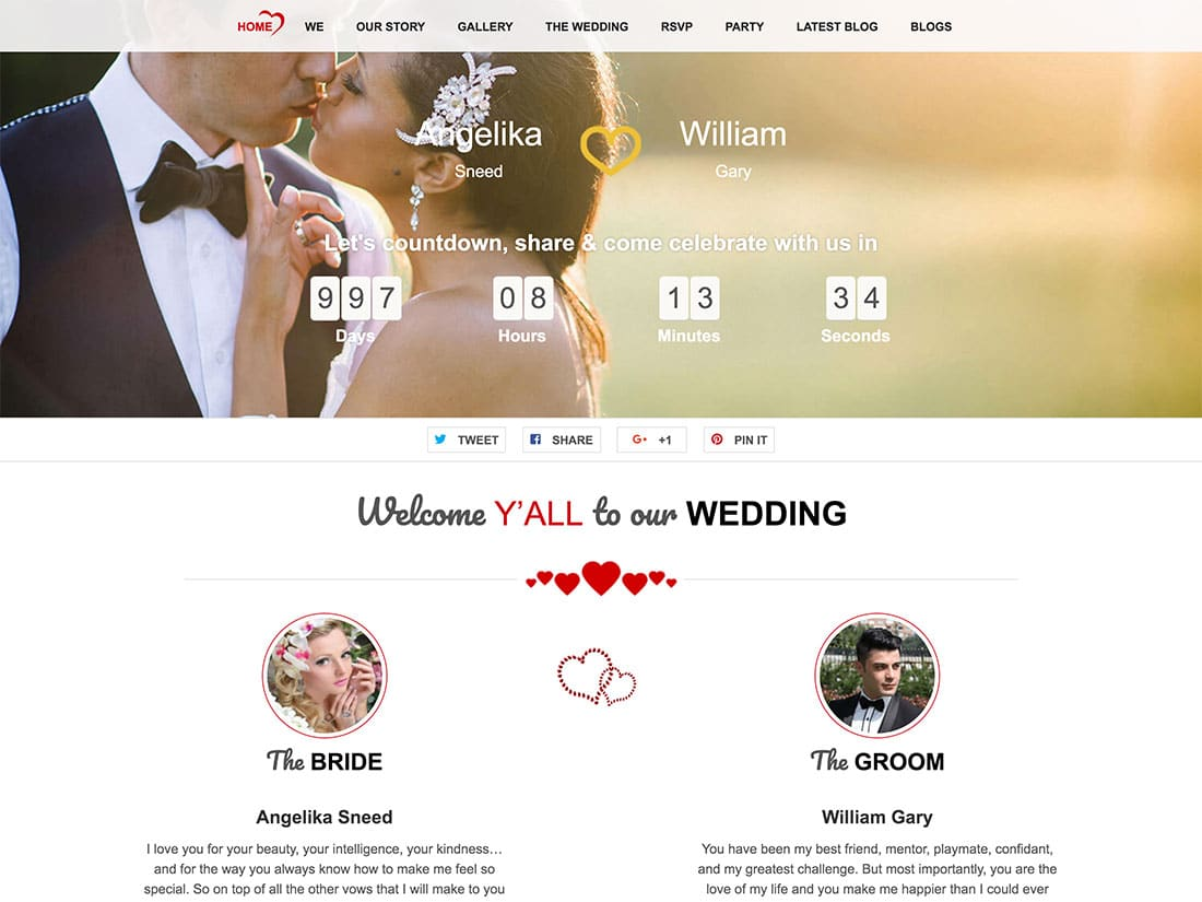 TwoGether - 36+ Elegant Free WordPress Wedding Themes [year]